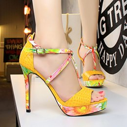 Wholesale Pink Floral Shoes - Women Shoes Extreme High Heel Sandals Buckle Pumps Peep Toe Platfrom T-tied Floral Shoes Black Pink Red Bule Yellow White