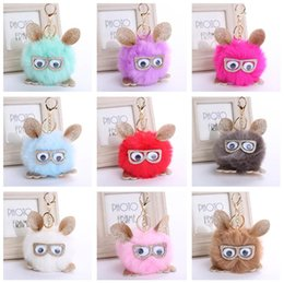 Wholesale Mixed Owl Order - Brand new Retro personality owl pendant hair ball key ring PU leather pendant KR360 Keychains mix order 20 pieces a lot