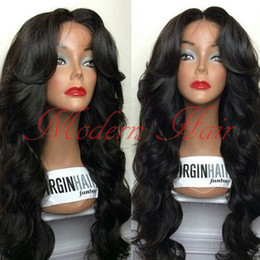 Wholesale synthetic wigs wavy black - Top Quality 7A Fashion Wavy Style Hair Black Brazilian Wig Body Wave Heat Resistant Synthetic Lace Front Wigs Women Hair None Lace wigs