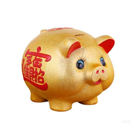 Wholesale Gold Piggy Bank - Ceramic gold pig piggy bank deposit box children's coin money jar activity creative gift opening set