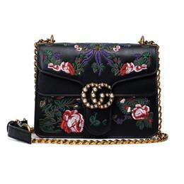 Wholesale Polyester Beads - Marmont crossbody shoulder bags embroidery bag pearl buckle flap messenger bags vintage luxury brands chain bag designer handbags 2017