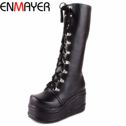 Wholesale Gothic Wedges - Wholesale-ENMAYER ShoesNew Motorcycle Boots Gothic Punk Shoes Cosplay Boots Knee High Heel Platform Sexy Zip Winter Wedges Knee High Boots