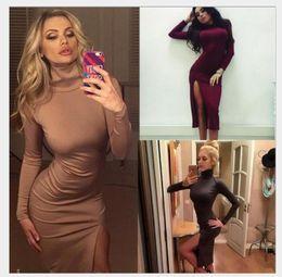 Wholesale Turtleneck Collar Dress - Vestidos Wine Red Slim sex dresses Bodycon Ladies Turtleneck Long sleeve Sexy Party Mini dress New ladies long sleeves sexy