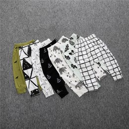 Wholesale leggings metallic - SK14 Hot Selling Ins Baby Kids boy girls leggings pants stripped plaid animals print Harem pants Trousers