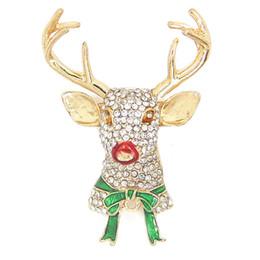 Wholesale Reindeer Brooch - Fashion Rhinestone Elk Cute Reindeer Brooch Pin Christmas Jewelry Gifts Wholesale CY163