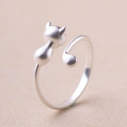 Wholesale Ring Stay - Korean style personality creative stay Meng cat ring, kitten ring opening adjustable anti allergy jewelry