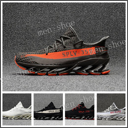 Wholesale Spring Blades - 2017 Blade 350 v2 Springblade Beluga Grey Orange Zebra Science Technology Light Running Shoes for Kanye west SPLY Fashion Runner Sports Shos