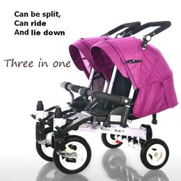 Wholesale Baby Tricycles - Wholesale- design pram stroller Baby single double folding trolley twins tricycle car bike baby stroller can sit and lie down for 0-6 years
