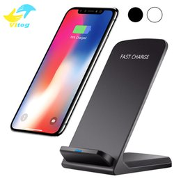 Wholesale Charger Stands - For Iphone X 2 Coils Qi Wireless Charger Fast Wireless Charger Stand Pad for iPhone X 8 8Plus Samsung Note 8 S8 Plus S7 edge