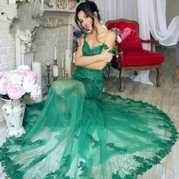 Wholesale Emerald Green Sashes - Sexy Emerald Green Tulle Mermaid Prom Dresses 2017 Straps V-neck Beaded Lace Custom Formal Evening Celebrity Gown Sheer Red Carpet Dress