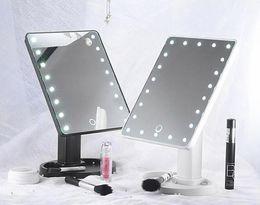 luces de maquillaje led portátiles Rebajas Espejo de maquillaje de rotación de 360 grados ajustable 16/22 LED iluminado pantalla táctil LED Espejos cosméticos luminosos portátiles negro / blanco / rosa
