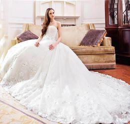 Wholesale Empire Lace Strapless Wedding - 2017 New Strapless A-Line Wedding Dress Trailing Royal Wedding Gorgeous Crystal Diamond Beaded Applique Chapel Wedding Dresses Plus Size