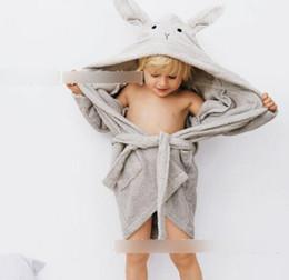 Wholesale Woolen Clothes Design - Kids nightgown sleeping gown baby's bathrobe leisure clothes children rabbit ear hooded sleeping dress kids pajama animal design T0489