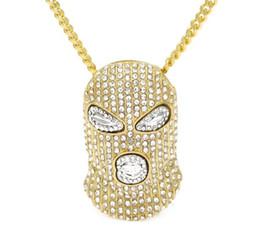 Wholesale Mens Silver Mask - Top sale new arrival Hip Hop Full CZ Rhinestone CSGO Pendant Necklace Mens Punk Style Alloy Gold Silver Color Mask Head Charm Pendant Chain