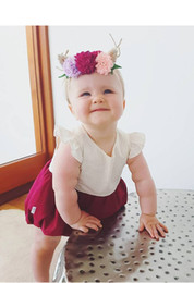 Wholesale Girl Summer Romper - Baby romper INS summer Baby Girls dots fly sleeve Romper Infant backless splicing colors jumpsuit children cotton clothing A0474