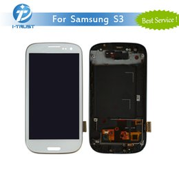 Wholesale Replacement Lcd Galaxy S3 Frame - For Samsung Galaxy S3 i9300 i747 Samsung S3 T999 i535 L710 Black Touch LCD Screen Digitizer Replacements With Frame& Free DHL Shipping