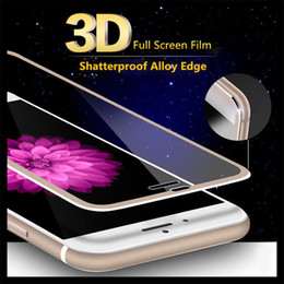 Wholesale Iphone Glass Colors - 3D metal edge Tempered Glass FULL COVER For iPhone 7 7 PLUS 6 6plus Full Cover Glass 9H 8 colors