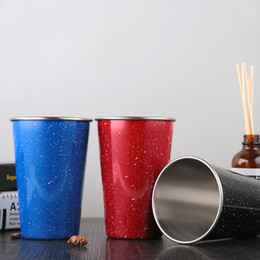 Wholesale Travel Coffee Glasses - 10PCS Stainless Steel Wine Glasses Insulation Bilayer Beer Candy colors Wine Cup Juice Coffee Mugs 3 Colors Travel Vehicle Beer Mugs Starry