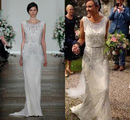 Wholesale Vintage Bridal Photos - Great Gatsby Sparkly Crystal Shiny Garden Wedding Dresses Keyhole 2017 Jenny Packham Full length Real Image Country Bridal Gowns