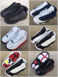 Wholesale 11 12 Kids Shoes - Baby Boys New Retro 13 OG Black Cat Children KIDS Youth Basketball Shoes 3M Reflect 13s Black Cat Athletics Sports Sneakers EU22-27