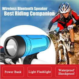Wholesale Power Bass Portable Speaker - Zealot S1 Bluetooth Outdoor Bicycle Speaker Portable Subwoofer Bass Speakers 4000mAh Power Bank+LED light +Bike Mount+Carabiner
