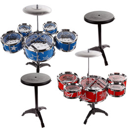 Wholesale Plastic Chairs Children - 27'' Jazz Drum Set with Chair Kids Early Education Toy Percussion Instrument for Children Birthday Gift
