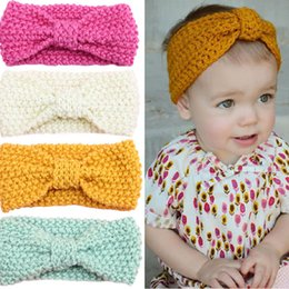 Wholesale Bow Wool Headband - Knot Headband Bebe Girl Winter Crochet Newborn Head wrap Warmer Knitted Bow Hairband Hair Band Hair Bow Accessories 12 colors