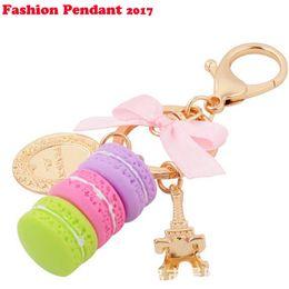 Wholesale Trinket Accessories - New Creative Macarons Cake Hot Key Chain Hide Rope Pendant Fashion Keychains Car Keyrings Accessories Women Bag Charm Trinket