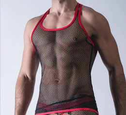 Wholesale Top Sexy Wear Men - Wholesale- Sexy Men Tank Tops Transparent Mesh Singlet Underwear Gay Exotic Home Lounge Sleep Wear Undershirts Summer Vest M-XL