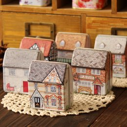 Wholesale Tin House Storage Box - 6pcs lot Mini European Style Small House Shape Candy Storage Box Wedding Favor Small Tin Box Cable Organizer Container Household