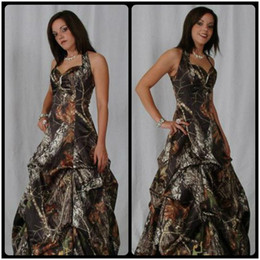 Wholesale Event Cheap Dresses - Cheap Camo Long Evening Dresses Halter Sleeveless Ball Gown Floor Length Camouflage Bridesmaids Dress Special Occasion Events Party Gowns