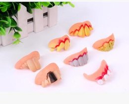Wholesale Denture Funny - Terrible Funny Goofy Fake Teeth Dentures Halloween Party Favor Rotten Trick Tricky Fake Tooth Teeth Vampire Denture Prank Prop Toy