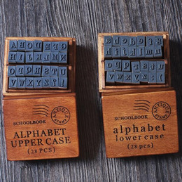 Wholesale Decorative Stamp Set - Wholesale- 28 pcs set NEW schoolbook stamp stamp set wooden box Decorative DIY funny work uppercase& lowercase Wholesale