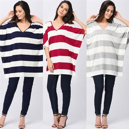 Wholesale Bow Blouse Xxl - Summer Ladies Batwing Sleeve Striped T-Shirt Female Plus Size Tee Dresses Top Loose Backless Casual Blouse Tee Shirt for Women S-XXL