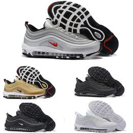 Wholesale Cheap Leather Sole Shoes - 2017 NEW Hot Mens Fashion gold Maxes 97 Running Shoes Cheap Maxes Sole Cushions Sports Basketball Casual Shoes Eur 36-46