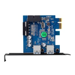 Wholesale Laptop Controller - dodocool 2-Port USB 3.0 PCI-E Express Card HUB Controller Adapter Card Internal 20Pin 4Pin IDE VLI Chipset Solid Capacitors DC12