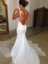 Wholesale pricing chart - 2017 Beach White Lace Backless Wedding Dresses Mermaid Spaghetti Straps Vintage Bridal Gowns Custom Made Dress For Brides Cheap Price