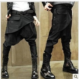 Wholesale Men Big Crotches - Wholesale-Men's skinny pants low-rise ruslana korshunova harem pants men crotch pants big baggy jeans Saggy trousers male casual clothes