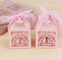 Wholesale Bird Wedding Candy - 50pcs Hollow Bird Style Wedding Favor Candy Boxes Gift Boxes with Ribbons Pink Purple Red White