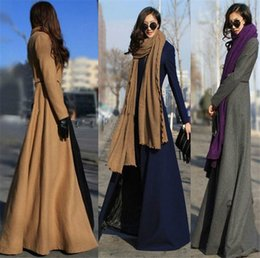 Wholesale Green Woman Trench Coat - New Women Trench Coat Winter Women Overcoat Plus Size Autumn Fashion Long Oversize Warm Wool Jacket Outwear