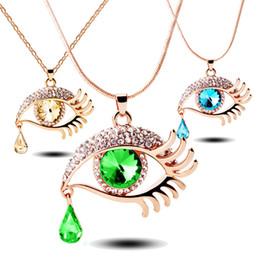 Wholesale Eyelashes Rhinestones - New Fashion Women Graceful Rhinestones Alloy Teardrop Fake Eyelash Pendant Chain Necklace Jewelry Gift Free Shipping