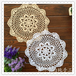 Wholesale Bamboo Cup Mat - Wholesale-2015 new fashion 20 pic lot 28 cm round table pad cotton crochet doilies potholders cup mat napkin cup coaster tablemat wedding