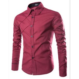 Wholesale Men Office Shirts - Wholesale- Fashion Autumn Men Shirt Brand Clothing Cotton Long Sleeve Turn-down Collar Dress Shirts Office Work Wear Casual Button Shirt Y1