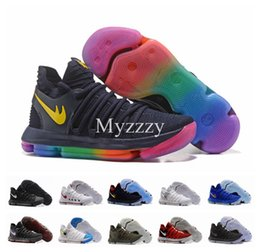 Wholesale Basketball Official - 2017 Official Correct Version KD 10 X Wolf Warriors Home Basketball Shoes for Kevin Durant 10s Rainbow EP Airs Cushion KD10 Sports Sneakers