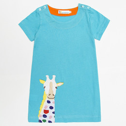 Wholesale Infant Giraffe - Giraffe Baby Girl Dress Soft Cotton Girl Blouses Short Sleeved Kids Tops Jumpers Children Clothes Stripe Infant Dress Vestidos