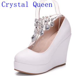 Wholesale Gold Jane Shoes - Crystal Queen Ankle Strap High Wedges Platform Pumps Large Size Bridal Shoes Women Crystal Rhinestone Platform Shoes Mary Jane