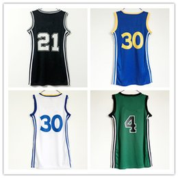 Wholesale Ladies Dress Shirts - Women #21 Tim Duncan Basketball Dress 23 Skirt Jerseys Lady 30 Stephen Curry Blue Black White Girl Sexy Dresses With Player Name Sport Shirt
