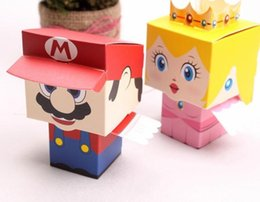 Wholesale Wedding Candy Bag Favors - 100 pcs super Mario and princess Bride Groom cartoon wedding candy box Party gift Bags baby shower favors girls boys birthday