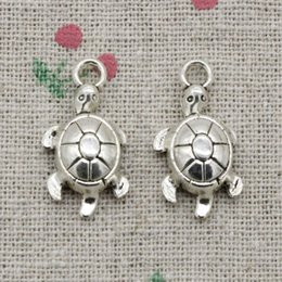 Wholesale Turtle Diy - 80pcs Charms tortoise turtle sea 23*12mm Antique Silver Pendant Zinc Alloy Jewelry DIY Hand Made Bracelet Necklace Fitting