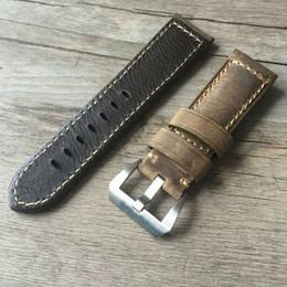 Guarda marrone marrone online-Cinturino in pelle di vitello marrone vintage vintage 22mm 24mm 24mm, cinturino retrò per pam e grande orologio, spedizione gratuita